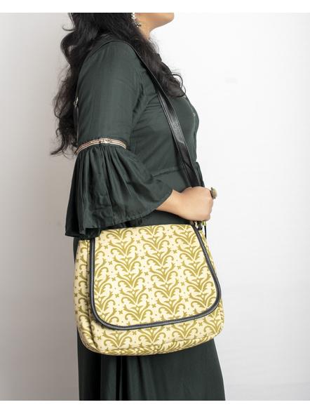 Handcrafted Rectungular Stylish Asparagus Green Sling Bag-2