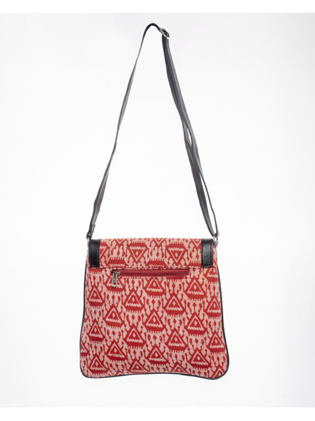 Handcrafted Stylish Rectungular red Triangle Batik Sling Bag-2