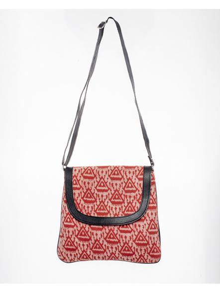 Handcrafted Stylish Rectungular red Triangle Batik Sling Bag-1