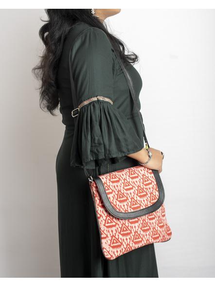 Handcrafted Stylish Rectungular red Triangle Batik Sling Bag-LAASRSB004
