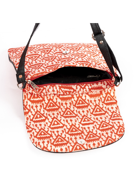 Handcrafted Stylish Rectungular red Triangle Batik Sling Bag-3
