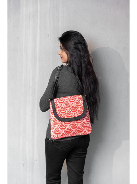Handcrafted Stylish Rectungular red Triangle Batik Sling Bag-4
