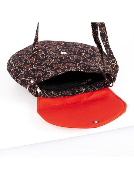 Handcrafted Stylish Half Circle Ajrakh Sling Bag-3