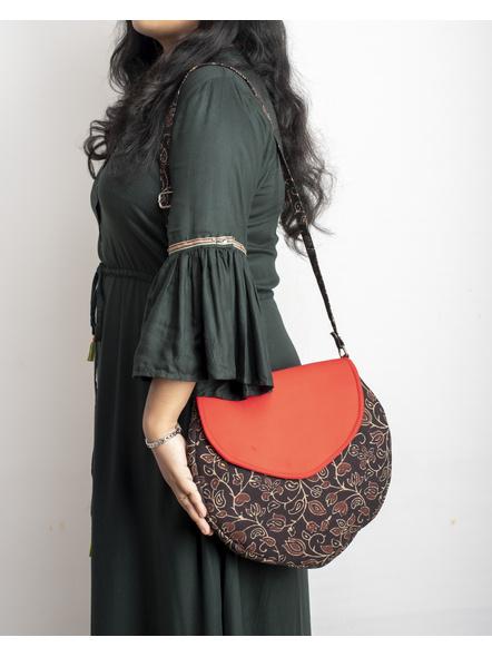 Handcrafted Stylish Half Circle Ajrakh Sling Bag-2