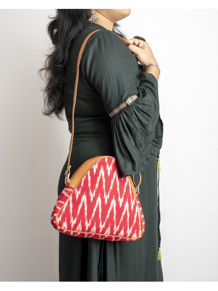 Handcrafted Triangle Red Ikkat Sling Bag-4