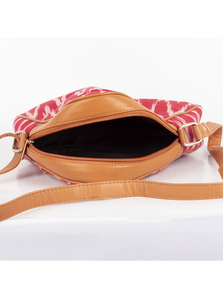 Handcrafted Triangle Red Ikkat Sling Bag-5