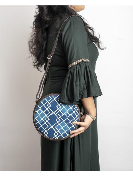 Handcrafted Circular Stylish Geomatrical Indigo Blue Sling Bag-LAACSSB003