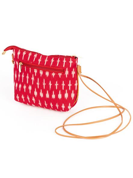 Handcrafted Red Ikkat Sling Bag-4