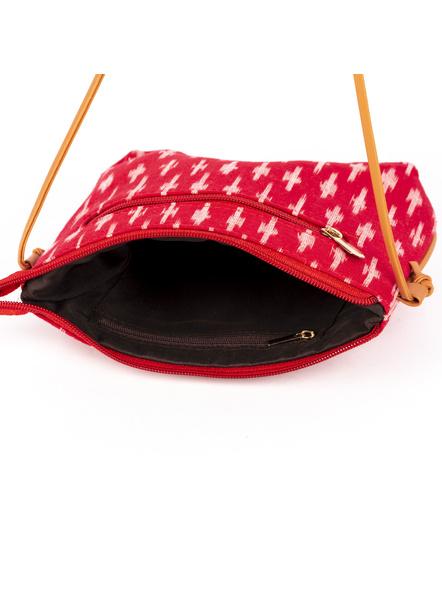 Handcrafted Red Ikkat Sling Bag-3