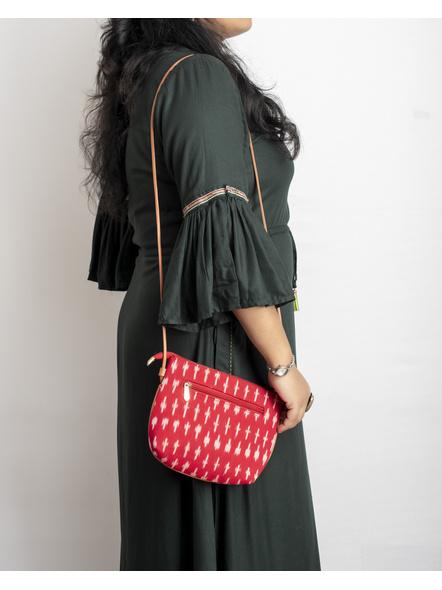 Handcrafted Red Ikkat Sling Bag-1