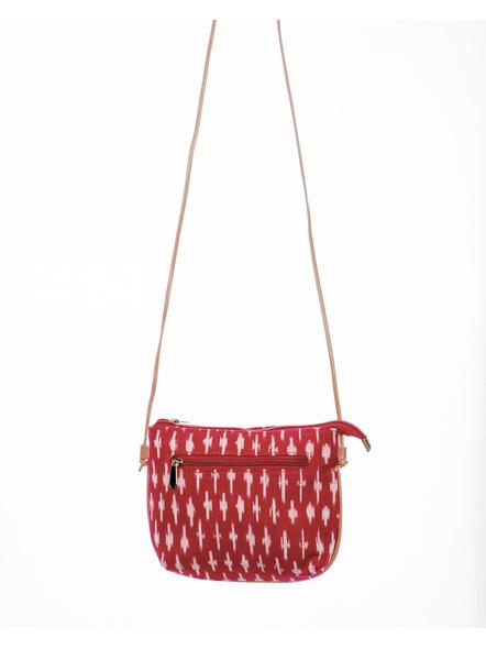 Handcrafted Red Ikkat Sling Bag-2