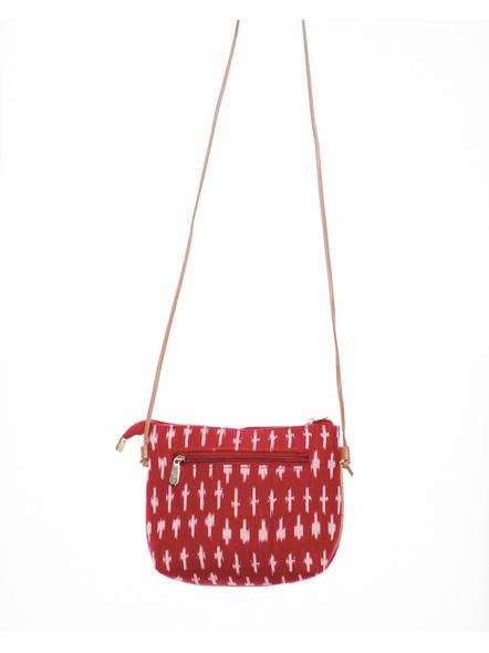 Handcrafted Red Ikkat Sling Bag-LAAHSB005