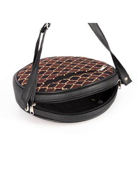 Handcrafted Circular Stylish Brown Ajrakh Sling Bag-3