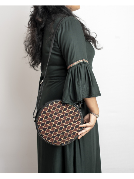 Handcrafted Circular Stylish Brown Ajrakh Sling Bag-2