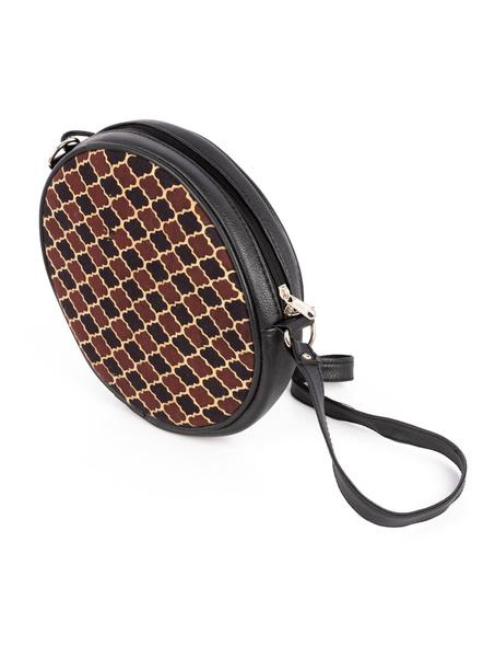 Handcrafted Circular Stylish Brown Ajrakh Sling Bag-4