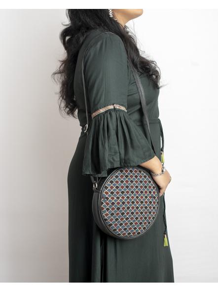 Handcrafted Circular Stylish Blue Ajrakh Sling Bag-LAACSSB002