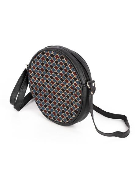 Handcrafted Circular Stylish Blue Ajrakh Sling Bag-1