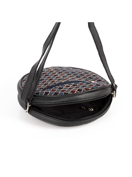 Handcrafted Circular Stylish Blue Ajrakh Sling Bag-2