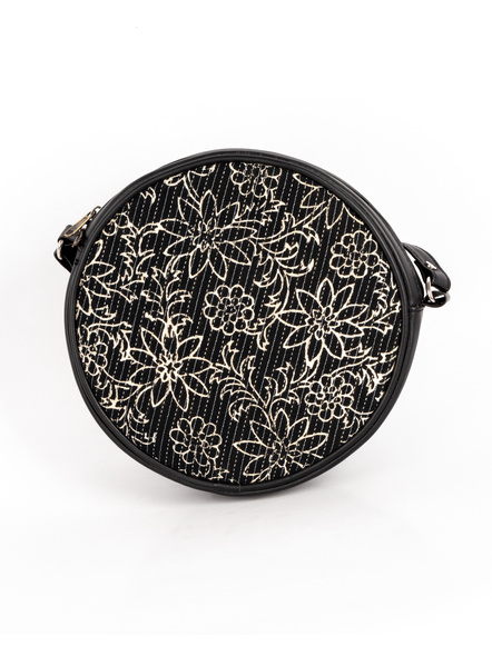 Handcrafted Circular Stylish Black & White Floral Sling Bag-1