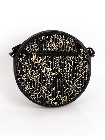 Handcrafted Circular Stylish Black & White Floral Sling Bag-2