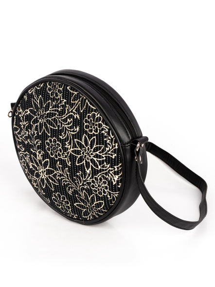 Handcrafted Circular Stylish Black & White Floral Sling Bag-4