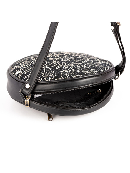 Handcrafted Circular Stylish Black & White Floral Sling Bag-3