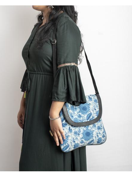 Handcrafted Stylish Rectungular Indigo Blue Floral Sling Bag-3