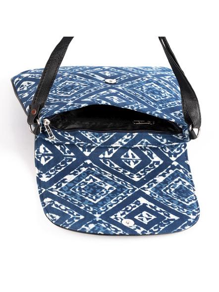 Handcrafted Stylish Rectungular Indigo Blue Sling Bag-3