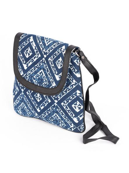 Handcrafted Stylish Rectungular Indigo Blue Sling Bag-4
