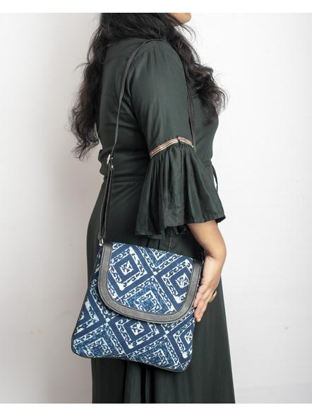 Handcrafted Stylish Rectungular Indigo Blue Sling Bag-1