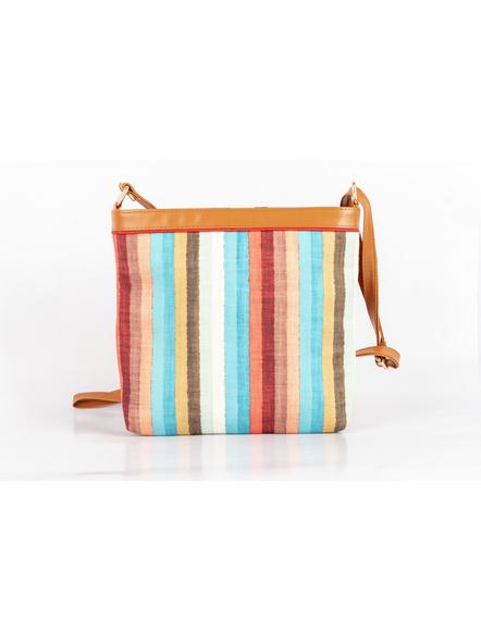 Handcrafted Multi Color Stripe Sling Bag-5