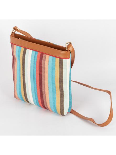 Handcrafted Multi Color Stripe Sling Bag-4