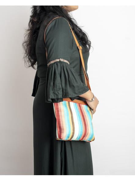 Handcrafted Multi Color Stripe Sling Bag-1