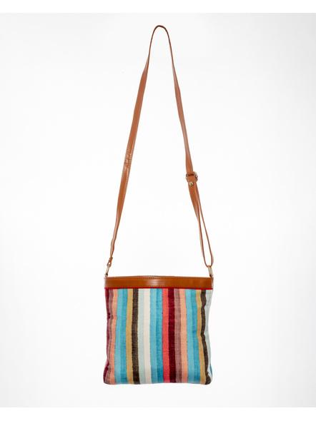 Handcrafted Multi Color Stripe Sling Bag-LAAHSB001