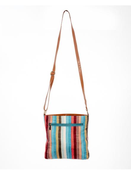 Handcrafted Multi Color Stripe Sling Bag-2
