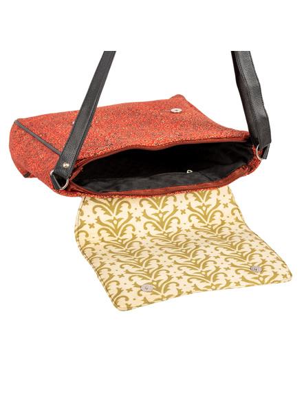 Handcrafted Rectungular Stylish Jumbo Ajrakh Sling Bag-3