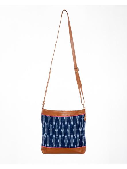 Handcrafted Square Ikkat Sling Bag-LAAHSB003