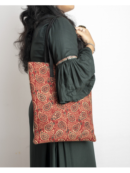 Handcrafted Stylish Dual Ajrakh Tote Bag-3