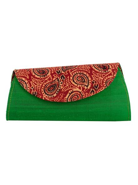Handcrafted Green Dupion Silk Ajrakh Clutch-Dupion Silk-1