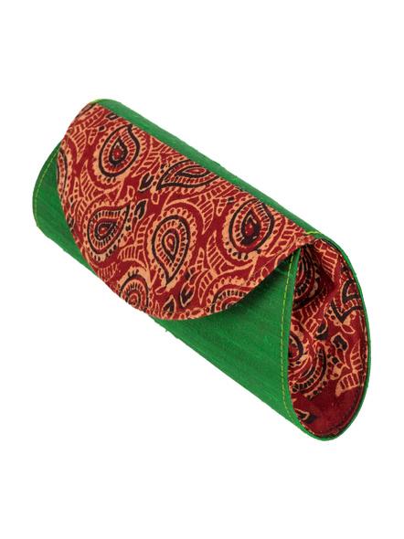 Handcrafted Green Dupion Silk Ajrakh Clutch-Dupion Silk-3
