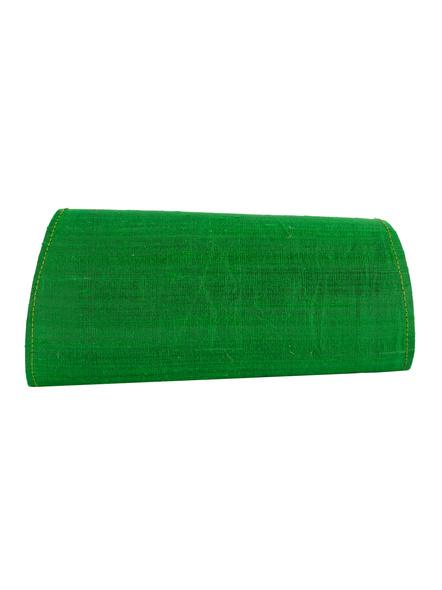 Handcrafted Green Dupion Silk Ajrakh Clutch-Dupion Silk-2