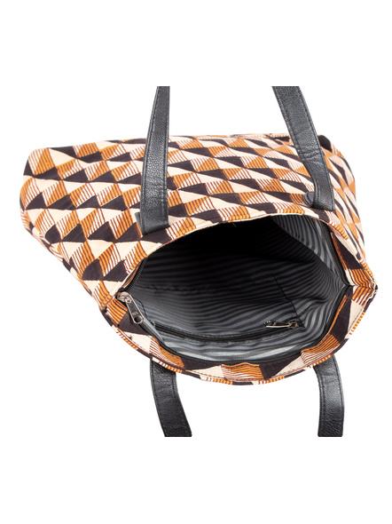Handcrafted Stylish Triangular Block Tote Bag-4