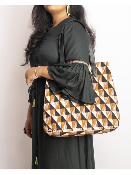 Handcrafted Stylish Triangular Block Tote Bag-3