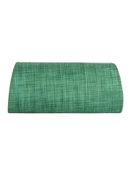 Handcrafted Green Tussar Silk Block Print Clutch-2