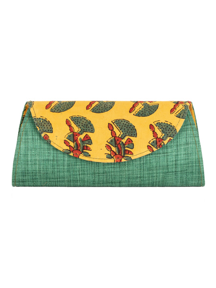 Handcrafted Green Tussar Silk Block Print Clutch-LAAHTSC002