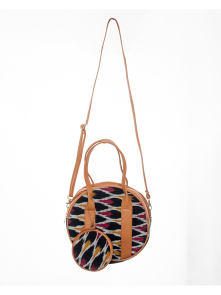 Handcrafted Black Red /Red Ikkat Circular Sling Bag with attached Small coin Purse-LAACSSB005