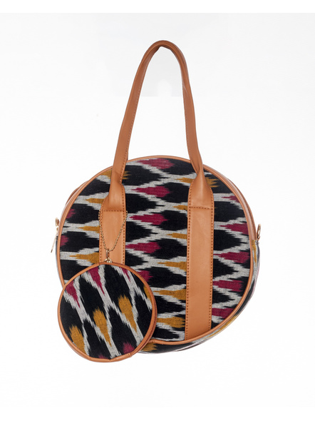 Handcrafted Black Red /Red Ikkat Circular Sling Bag with attached Small coin Purse-1