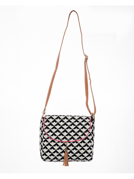 White Black Geometric Hand Block Print Adjustable Sling Bag with Leather Tassle-LAAHSB006