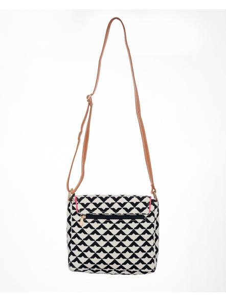 White Black Geometric Hand Block Print Adjustable Sling Bag with Leather Tassle-2