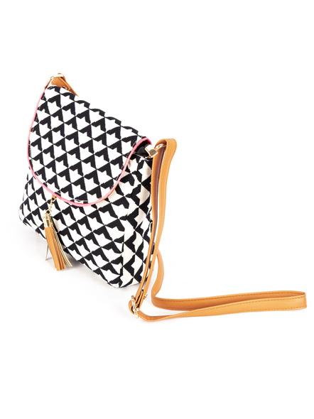 White Black Geometric Hand Block Print Adjustable Sling Bag with Leather Tassle-1